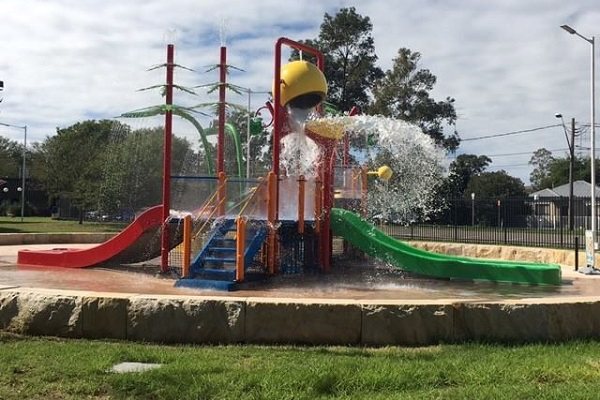 Penrith splash park play area on a warm sunny day